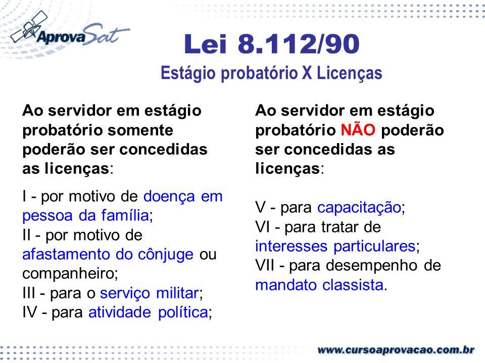 Lei 8.112/90 Estágio probatório X Licenças
