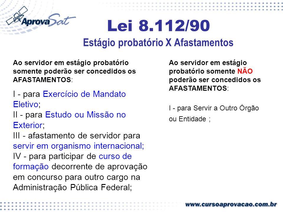 Lei 8.112/90 Estágio probatório X Afastamentos