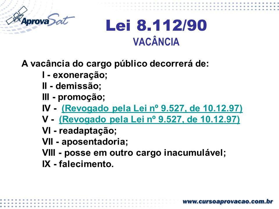 Lei 8.112/90 VACÂNCIA A vacância do cargo público decorrerá de:
