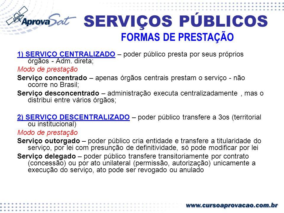 SERVIÇOS PÚBLICOS FORMAS DE PRESTAÇÃO