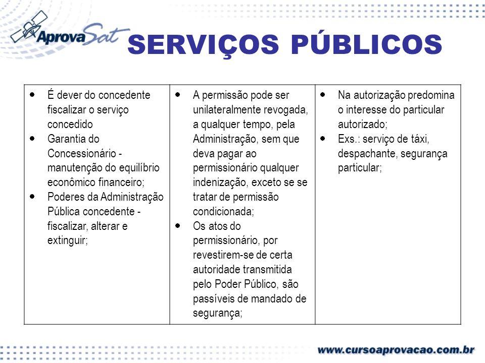 SERVIÇOS PÚBLICOS É dever do concedente fiscalizar o serviço concedido