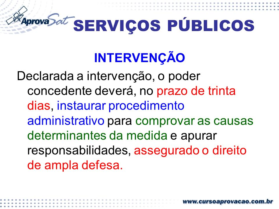 SERVIÇOS PÚBLICOS INTERVENÇÃO