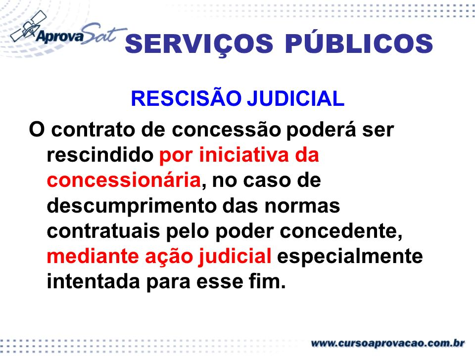 SERVIÇOS PÚBLICOS RESCISÃO JUDICIAL