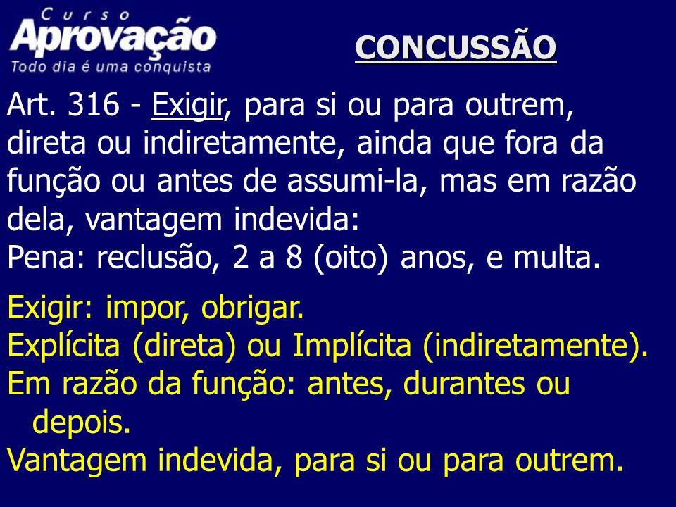 CONCUSSÃOArt. 316 - Exigir, para si ou para outrem, direta ou indiretamente, ainda que fora da. função ou antes de assumi-la, mas em razão.