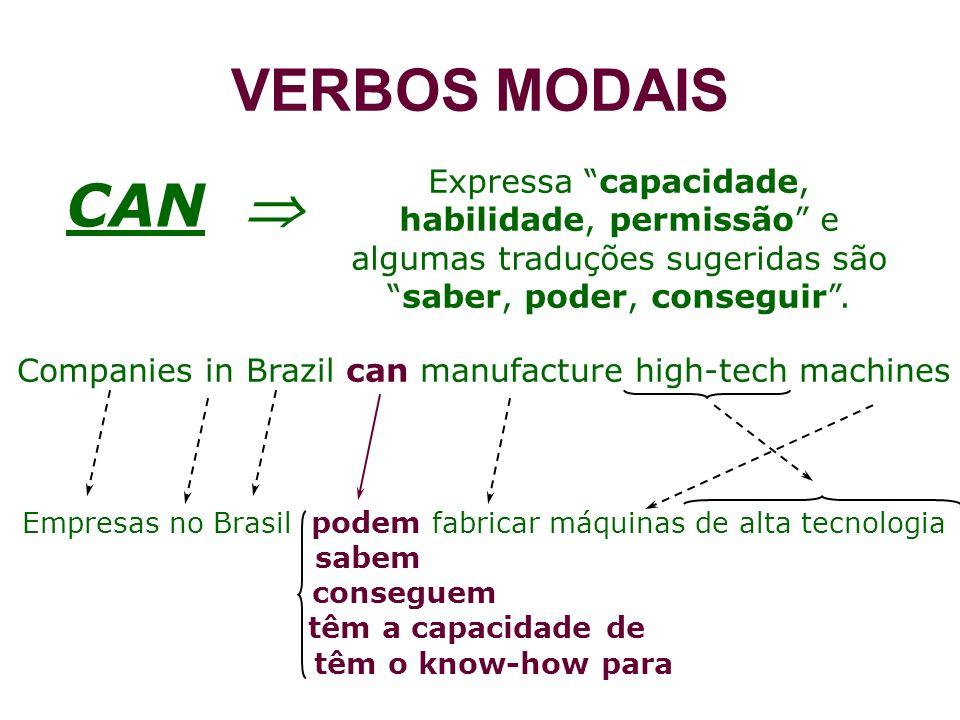 VERBOS MODAIS Expressa capacidade, habilidade, permissão e algumas traduções sugeridas são saber, poder, conseguir .