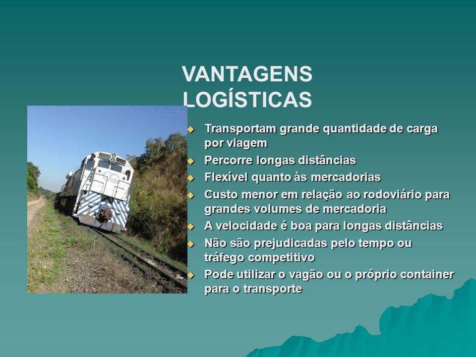 VANTAGENS LOGÍSTICAS Transportam grande quantidade de carga por viagem