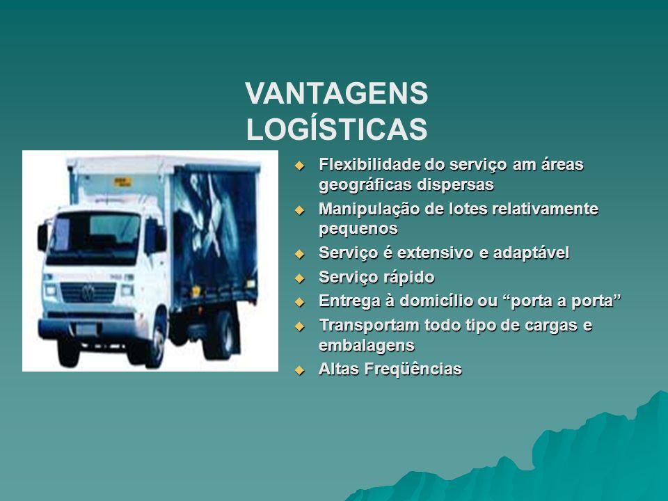 VANTAGENS LOGÍSTICAS Flexibilidade do serviço am áreas geográficas dispersas. Manipulação de lotes relativamente pequenos.