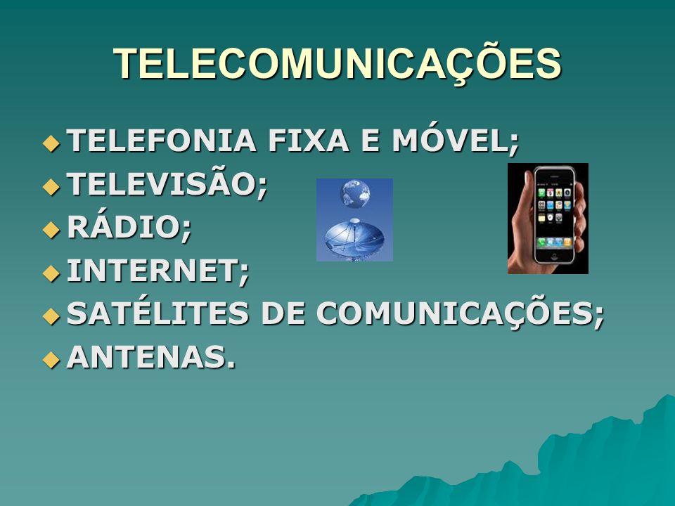 TELECOMUNICAÇÕES TELEFONIA FIXA E MÓVEL; TELEVISÃO; RÁDIO; INTERNET;