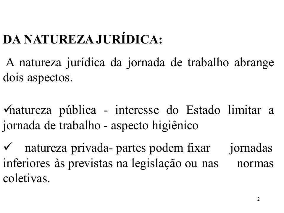 DA NATUREZA JURÍDICA: A natureza jurídica da jornada de trabalho abrange dois aspectos.