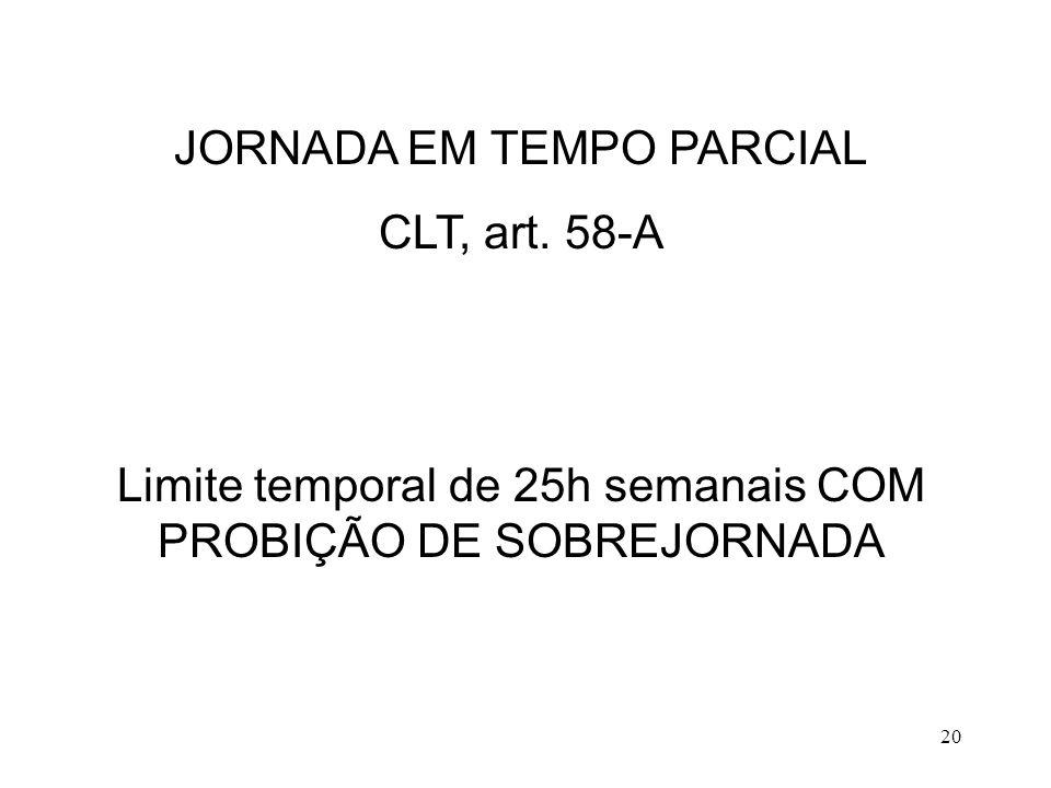 JORNADA EM TEMPO PARCIAL CLT, art. 58-A