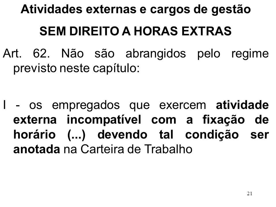 Atividades externas e cargos de gestão SEM DIREITO A HORAS EXTRAS