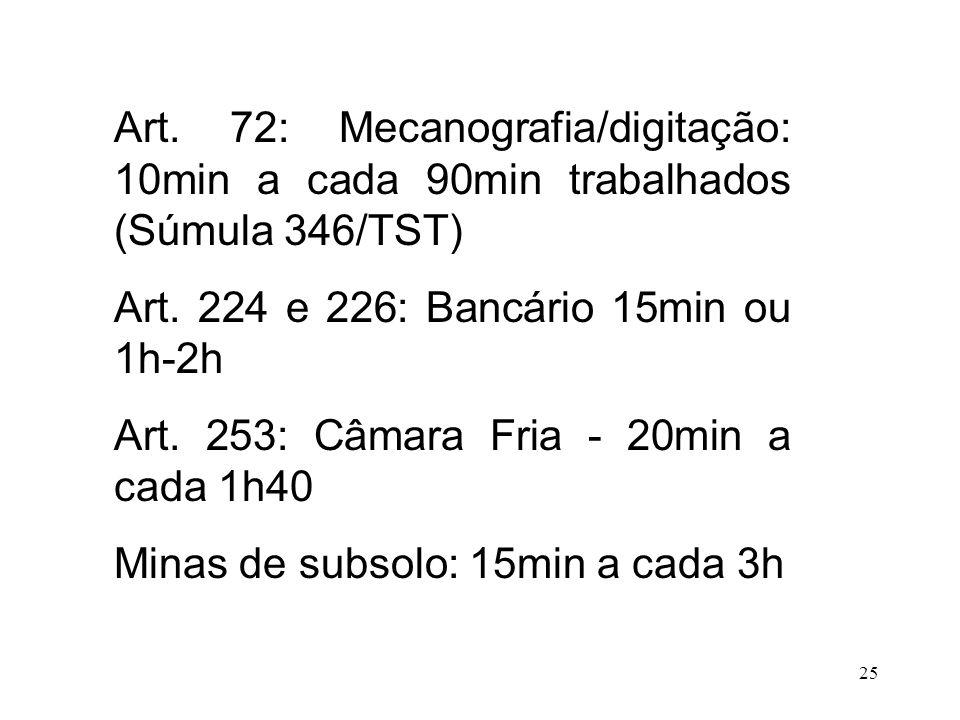 Art. 72: Mecanografia/digitação: 10min a cada 90min trabalhados (Súmula 346/TST)