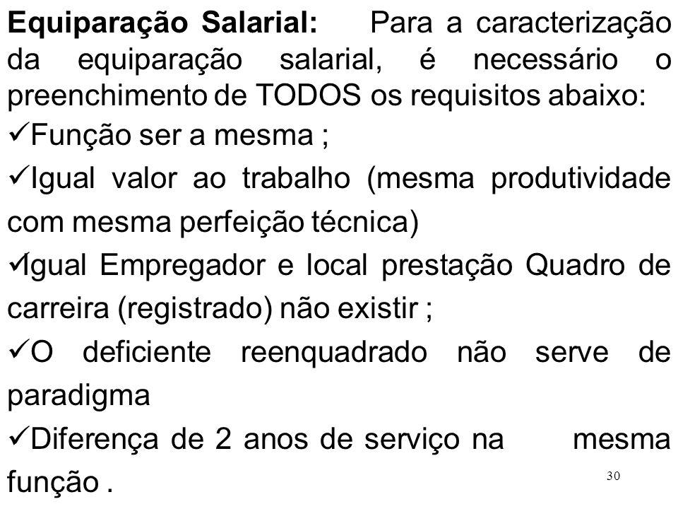 Equiparação Salarial: Para a caracterização da equiparação salarial, é necessário o preenchimento de TODOS os requisitos abaixo: