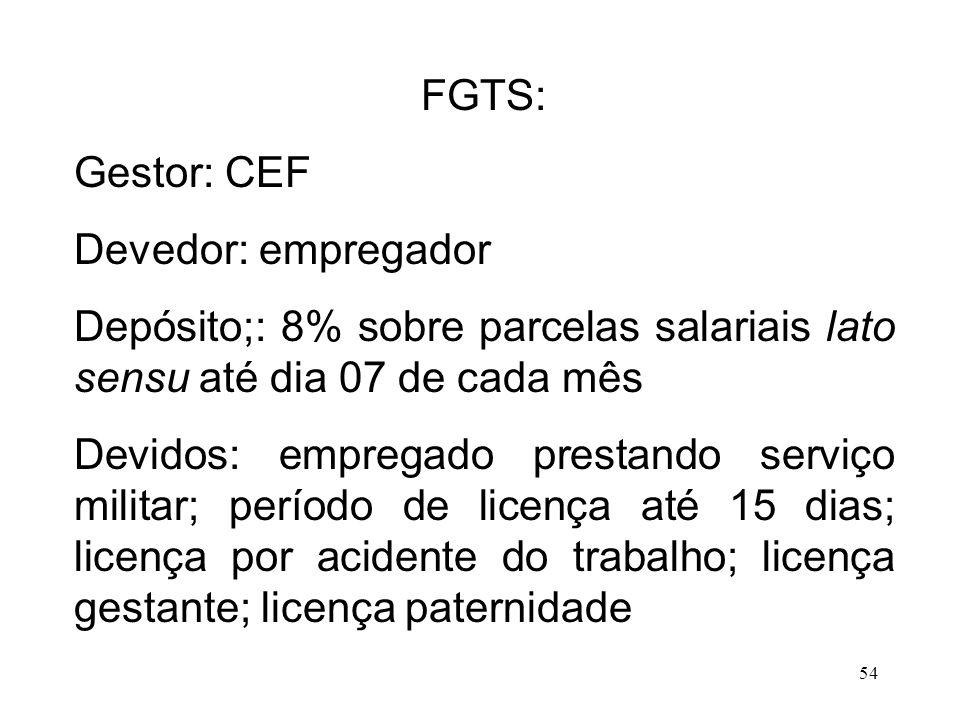 FGTS: Gestor: CEF. Devedor: empregador. Depósito;: 8% sobre parcelas salariais lato sensu até dia 07 de cada mês.