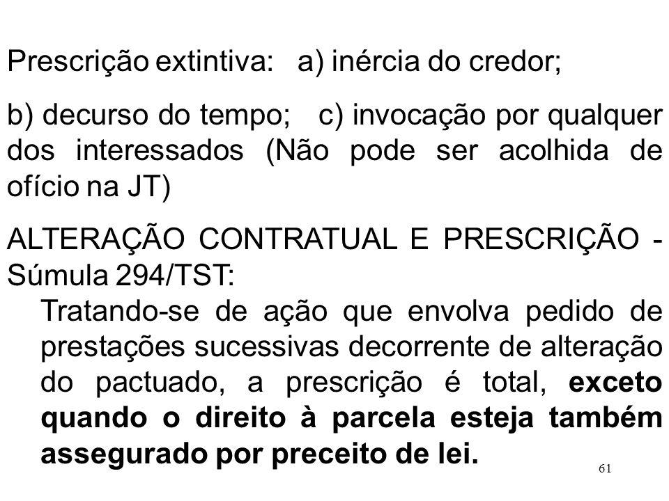 Prescrição extintiva: a) inércia do credor;