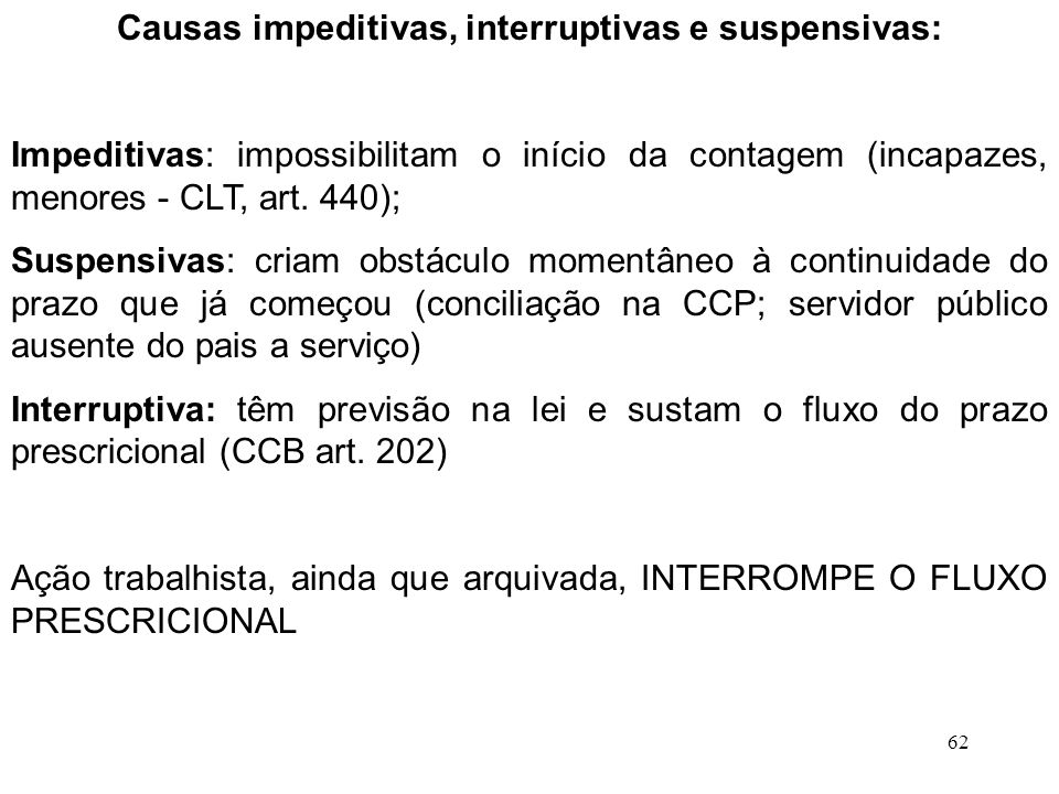 Causas impeditivas, interruptivas e suspensivas: