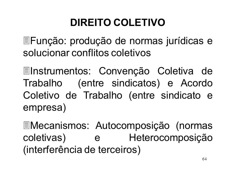 DIREITO COLETIVO Função: produção de normas jurídicas e solucionar conflitos coletivos.