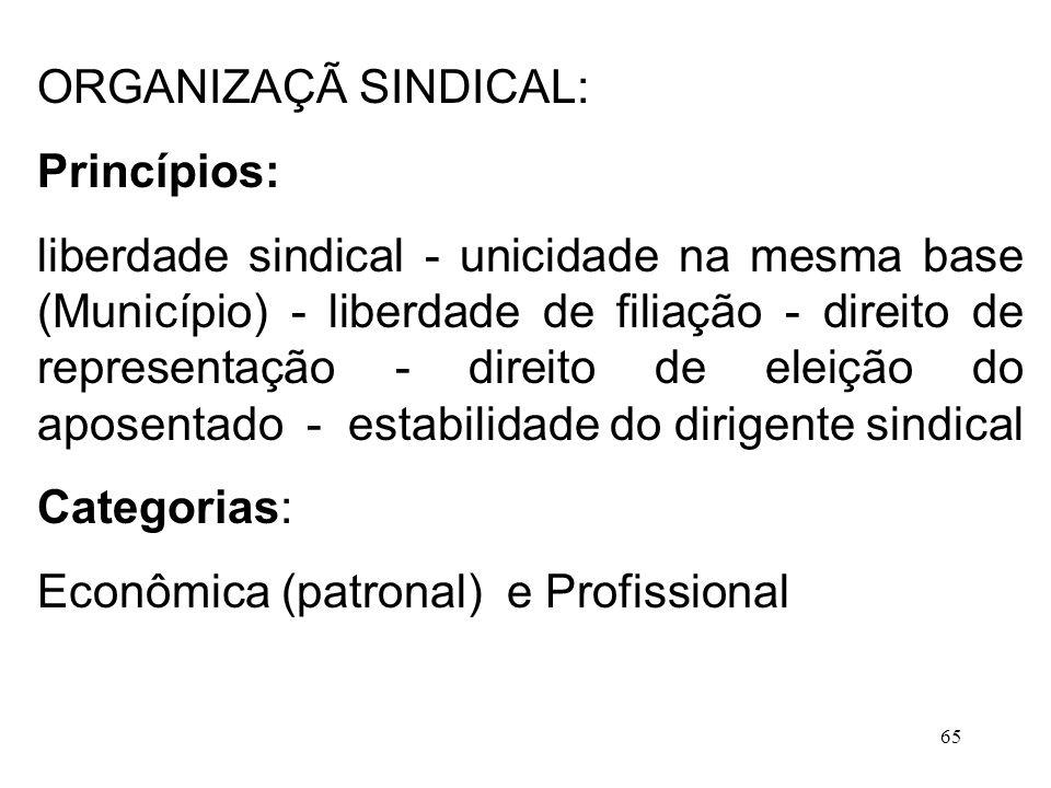 ORGANIZAÇÃ SINDICAL: Princípios: