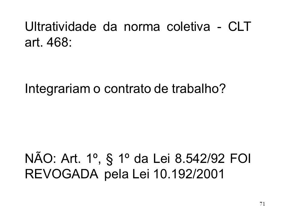 Ultratividade da norma coletiva - CLT art. 468: