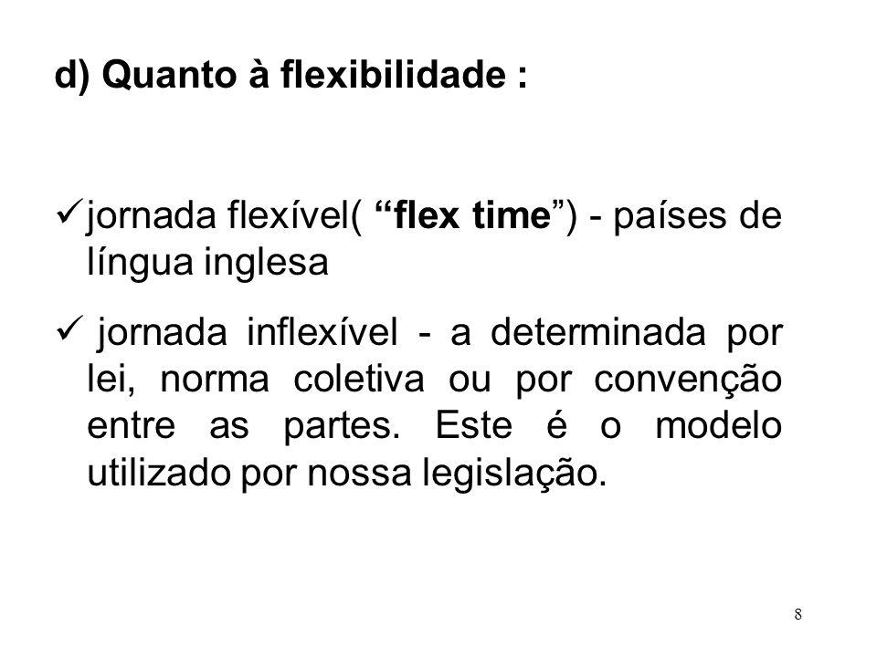 d) Quanto à flexibilidade :
