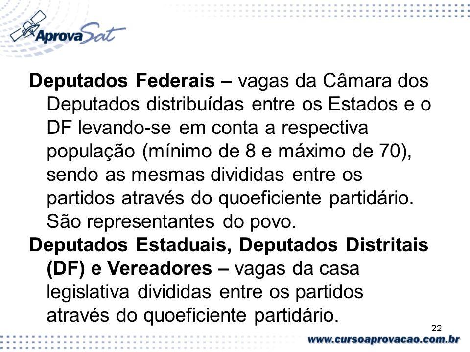 Deputados Federais – vagas da Câmara dos Deputados distribuídas entre os Estados e o DF levando-se em conta a respectiva população (mínimo de 8 e máximo de 70), sendo as mesmas divididas entre os partidos através do quoeficiente partidário. São representantes do povo.