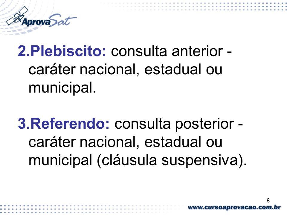 2.Plebiscito: consulta anterior - caráter nacional, estadual ou municipal.
