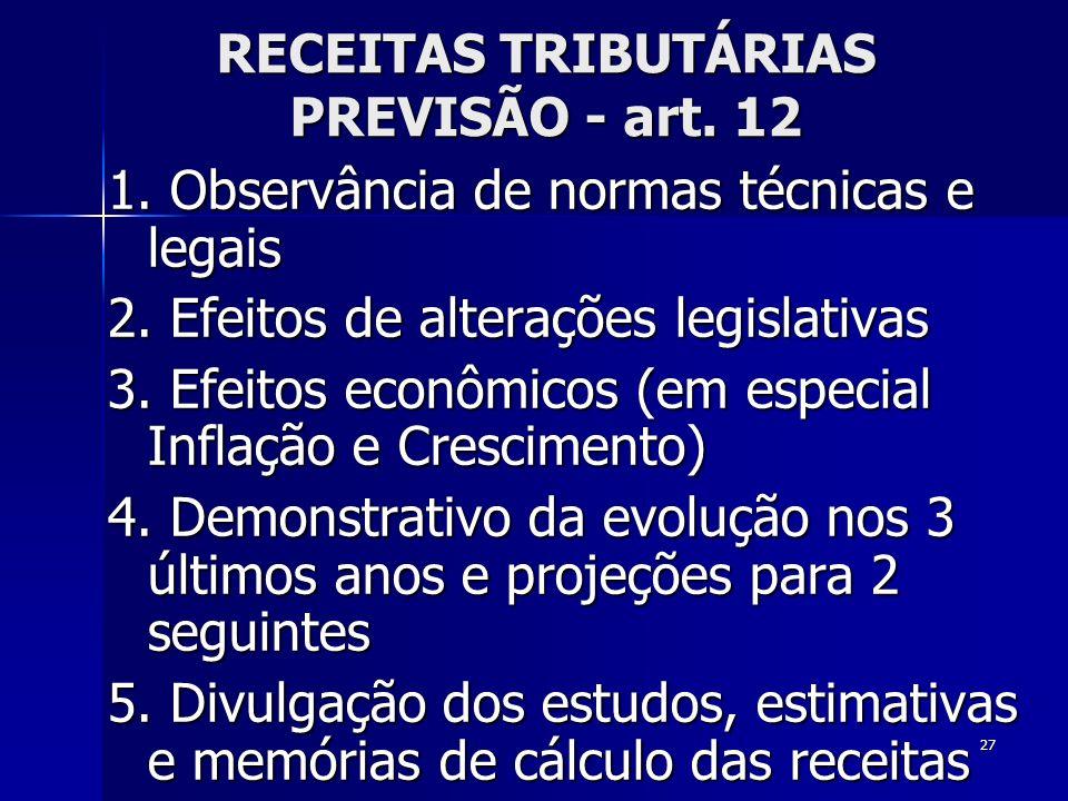 RECEITAS TRIBUTÁRIAS PREVISÃO - art. 12