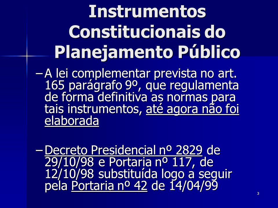 Instrumentos Constitucionais do Planejamento Público