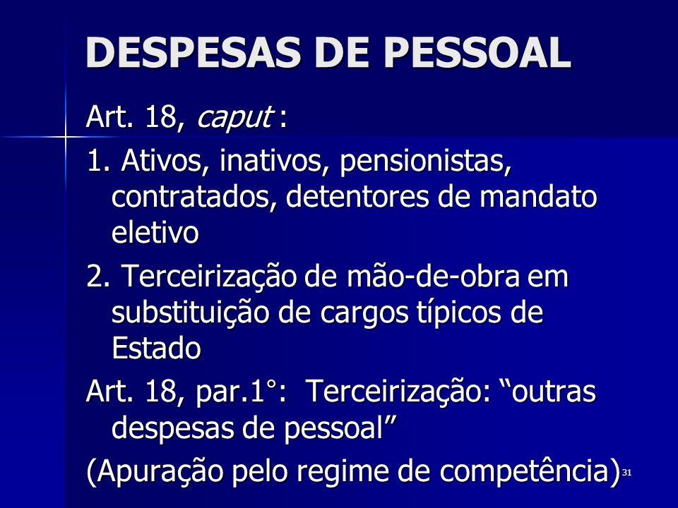 DESPESAS DE PESSOAL Art. 18, caput :