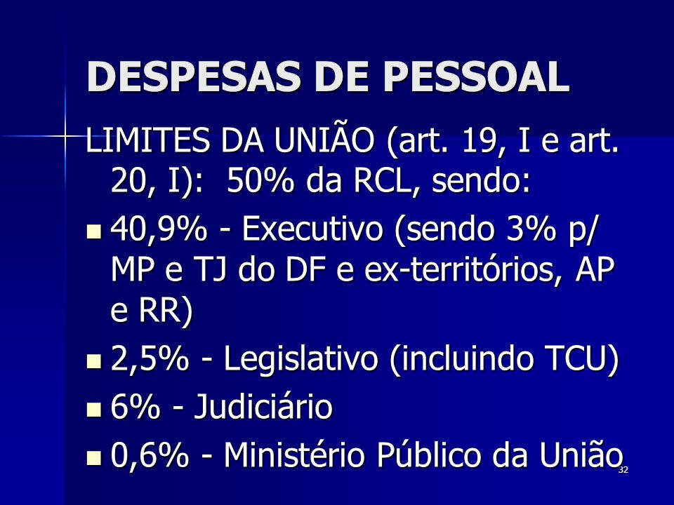 DESPESAS DE PESSOAL LIMITES DA UNIÃO (art. 19, I e art. 20, I): 50% da RCL, sendo: