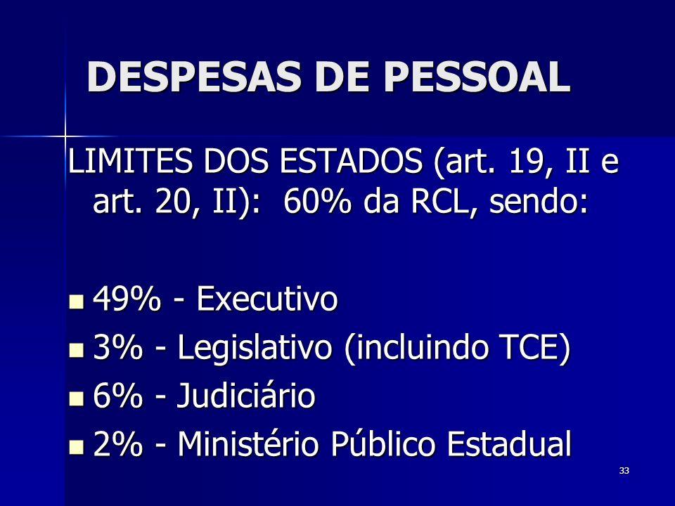 DESPESAS DE PESSOAL LIMITES DOS ESTADOS (art. 19, II e art. 20, II): 60% da RCL, sendo: 49% - Executivo.