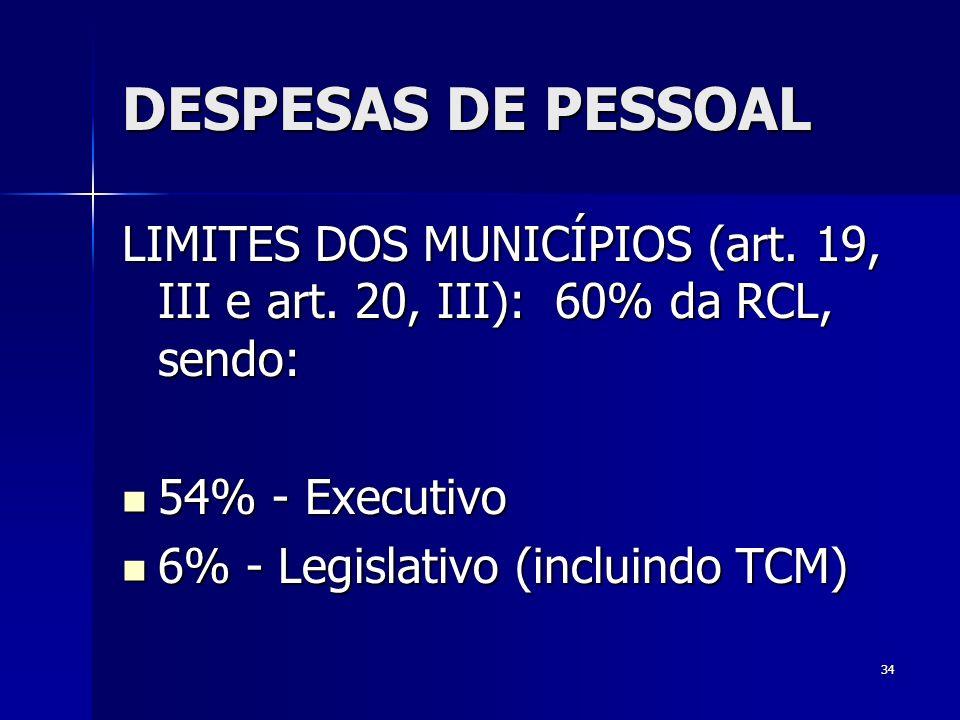 DESPESAS DE PESSOAL LIMITES DOS MUNICÍPIOS (art. 19, III e art. 20, III): 60% da RCL, sendo: 54% - Executivo.