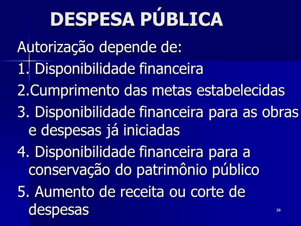 DESPESA PÚBLICA Autorização depende de: 1. Disponibilidade financeira