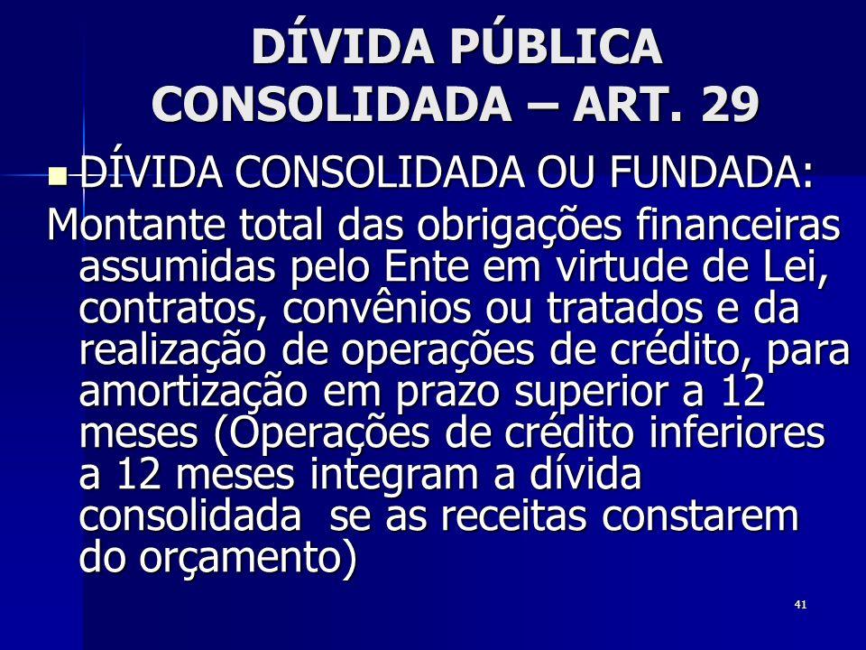 DÍVIDA PÚBLICA CONSOLIDADA – ART. 29