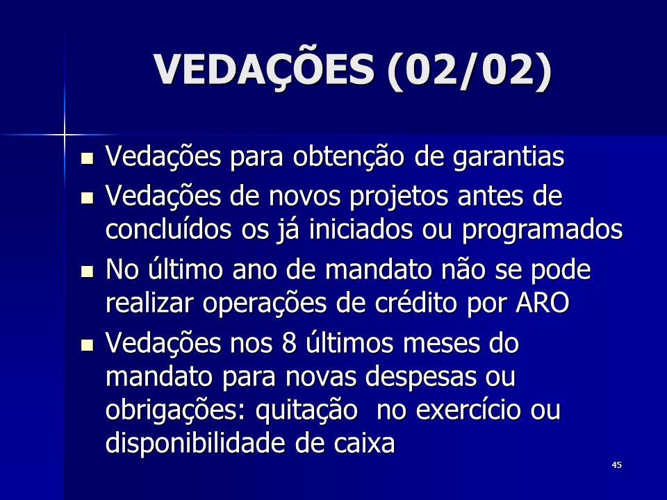 VEDAÇÕES (02/02) Vedações para obtenção de garantias