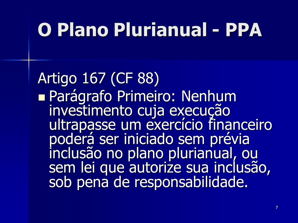 O Plano Plurianual - PPA