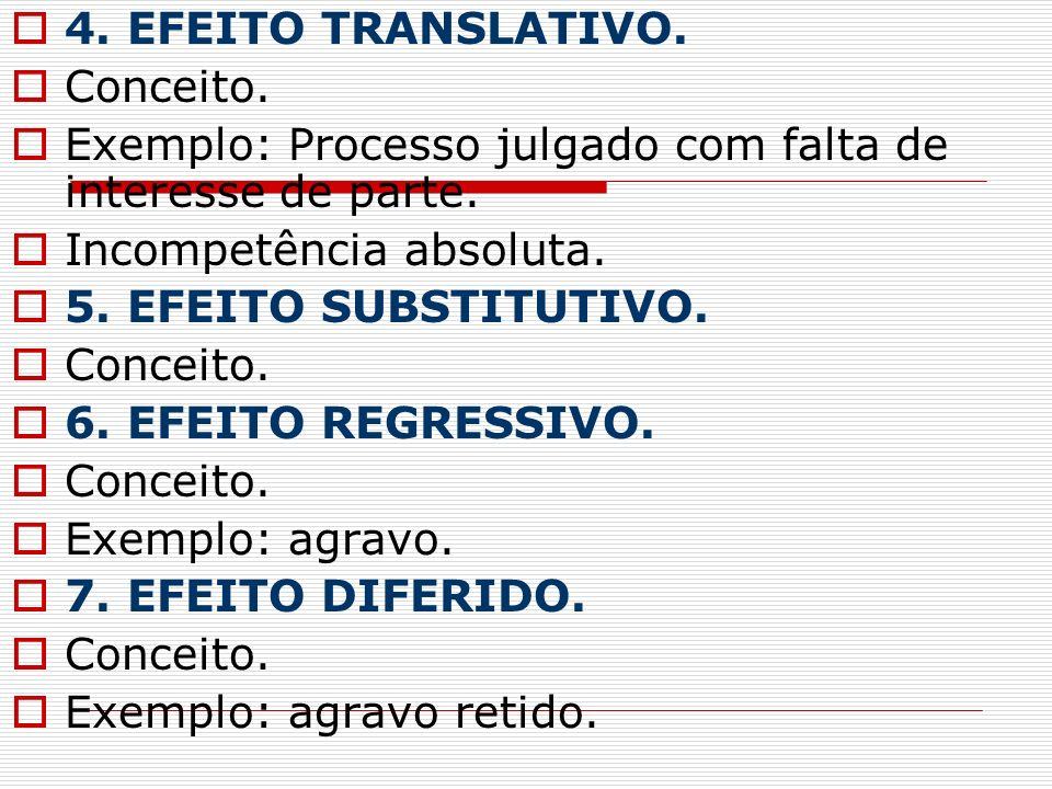 4. EFEITO TRANSLATIVO.Conceito. Exemplo: Processo julgado com falta de interesse de parte. Incompetência absoluta.