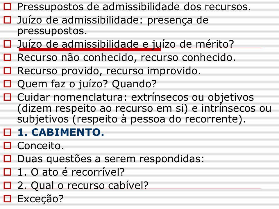 Pressupostos de admissibilidade dos recursos.