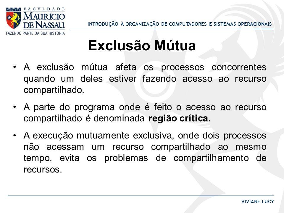 Exclusão Mútua A exclusão mútua afeta os processos concorrentes quando um deles estiver fazendo acesso ao recurso compartilhado.