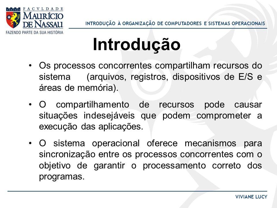 Introdução Os processos concorrentes compartilham recursos do sistema (arquivos, registros, dispositivos de E/S e áreas de memória).