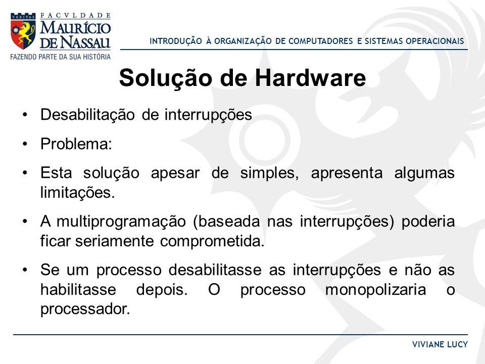 Solução de Hardware Desabilitação de interrupções Problema: