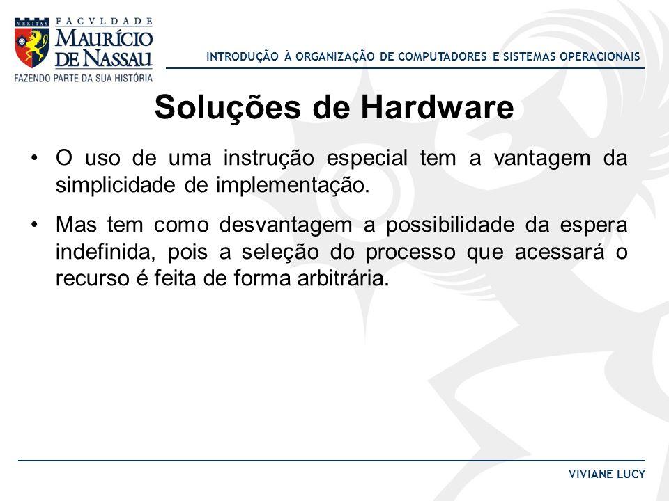 Soluções de Hardware O uso de uma instrução especial tem a vantagem da simplicidade de implementação.