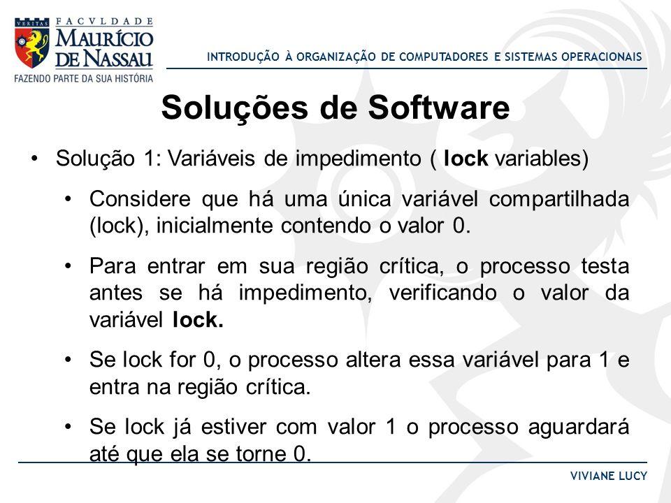 Soluções de Software Solução 1: Variáveis de impedimento ( lock variables)