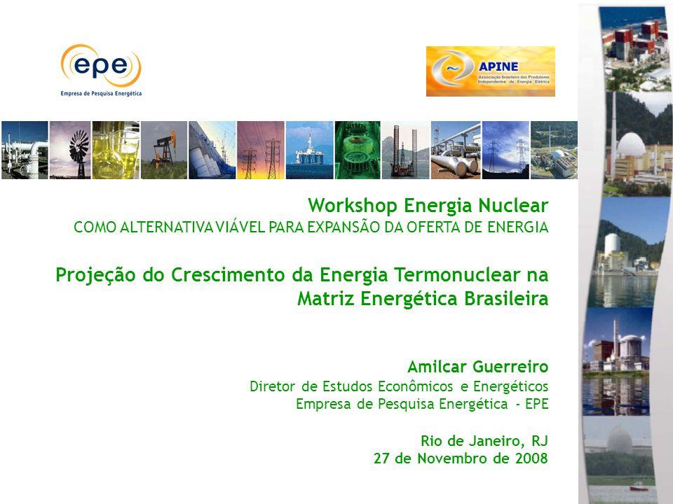 Workshop Energia Nuclear COMO ALTERNATIVA VIÁVEL PARA EXPANSÃO DA OFERTA DE ENERGIA Projeção do Crescimento da Energia Termonuclear na Matriz Energética Brasileira