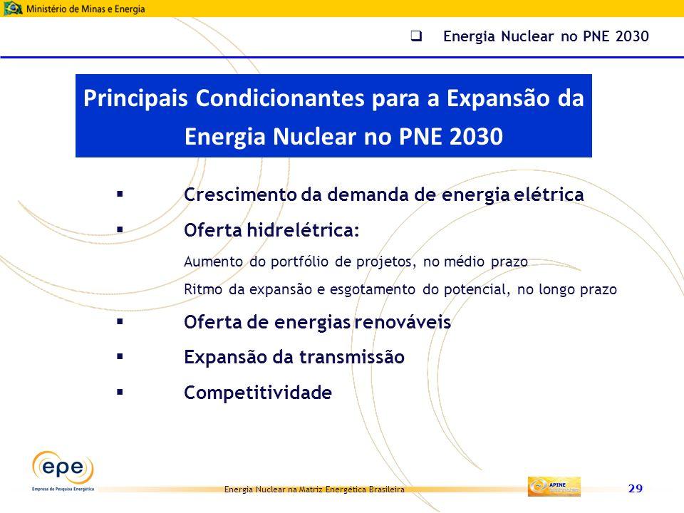 Energia Nuclear no PNE 2030 Principais Condicionantes para a Expansão da Energia Nuclear no PNE 2030.