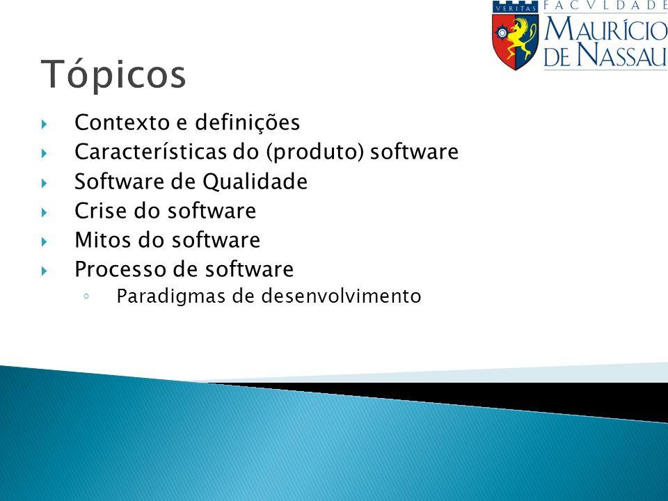 Tópicos Contexto e definições Características do (produto) software