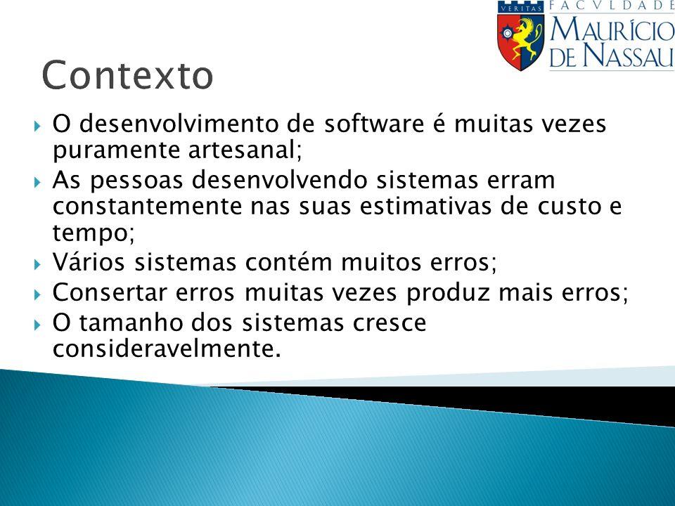 Contexto O desenvolvimento de software é muitas vezes puramente artesanal;