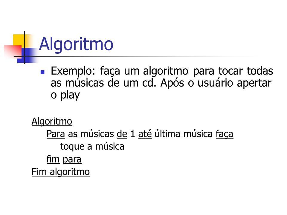 AlgoritmoExemplo: faça um algoritmo para tocar todas as músicas de um cd. Após o usuário apertar o play.