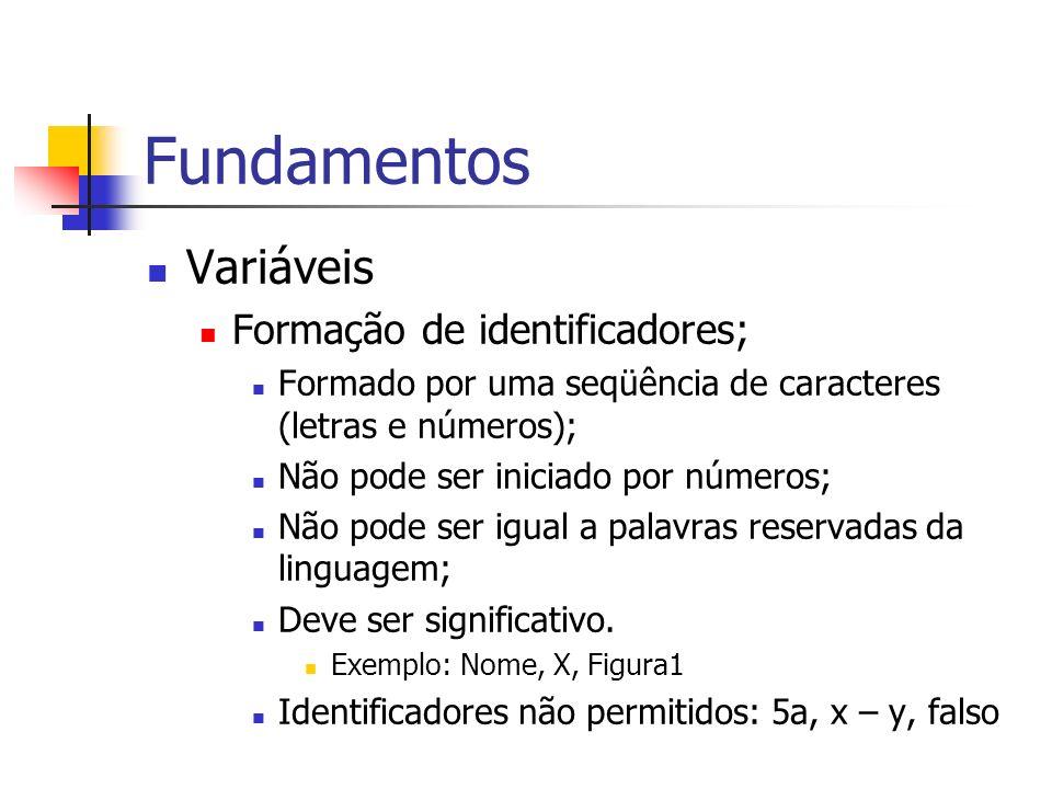 Fundamentos Variáveis Formação de identificadores;