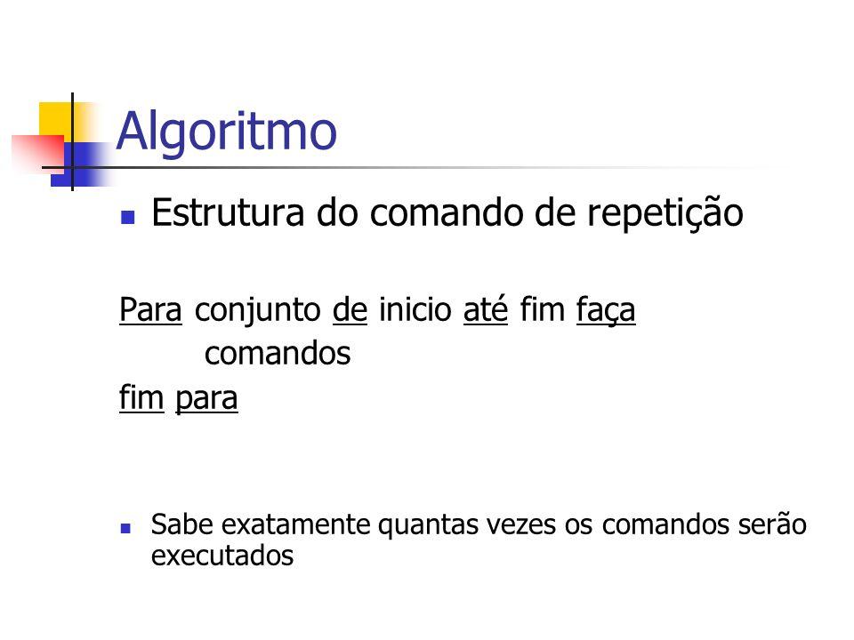 Algoritmo Estrutura do comando de repetição